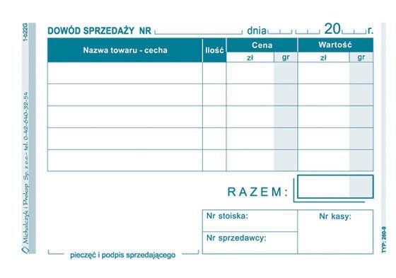MP DOWÓD SPRZEDAŻY A7 PARAGON 260-9