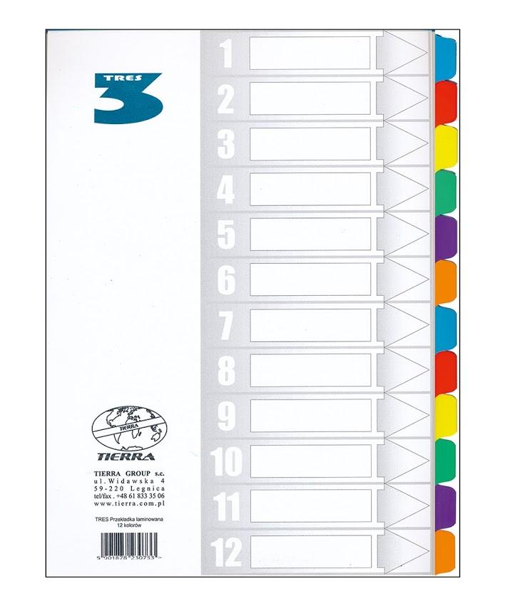 PRZEKŁADKI TRES A4 LAMIN. 1-12 kolorowe końcówki