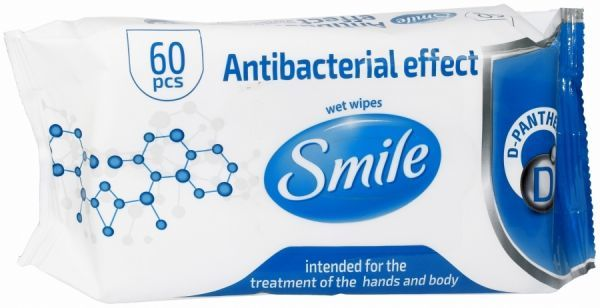CHUSTECZKI NAWILŻONE ANTYBAKTERYJNE SMILE 60szt