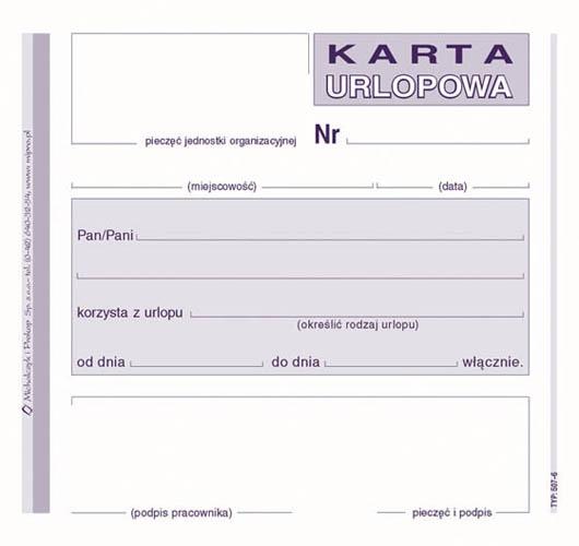 D KARTA URLOPOWA 2/3 A6 507-6