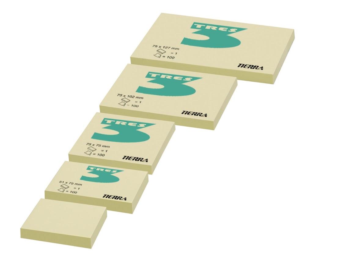 Notes TRES pastel żółty 50mm x 75mm