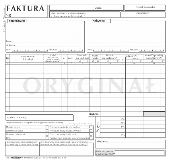 FAKTURA STOLGRAF 2/3 A4 F19 1+1