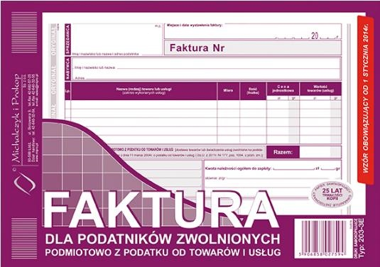 D FAKTURA A5 2SKŁ.ZWOL.VAT 203-3E POZ.